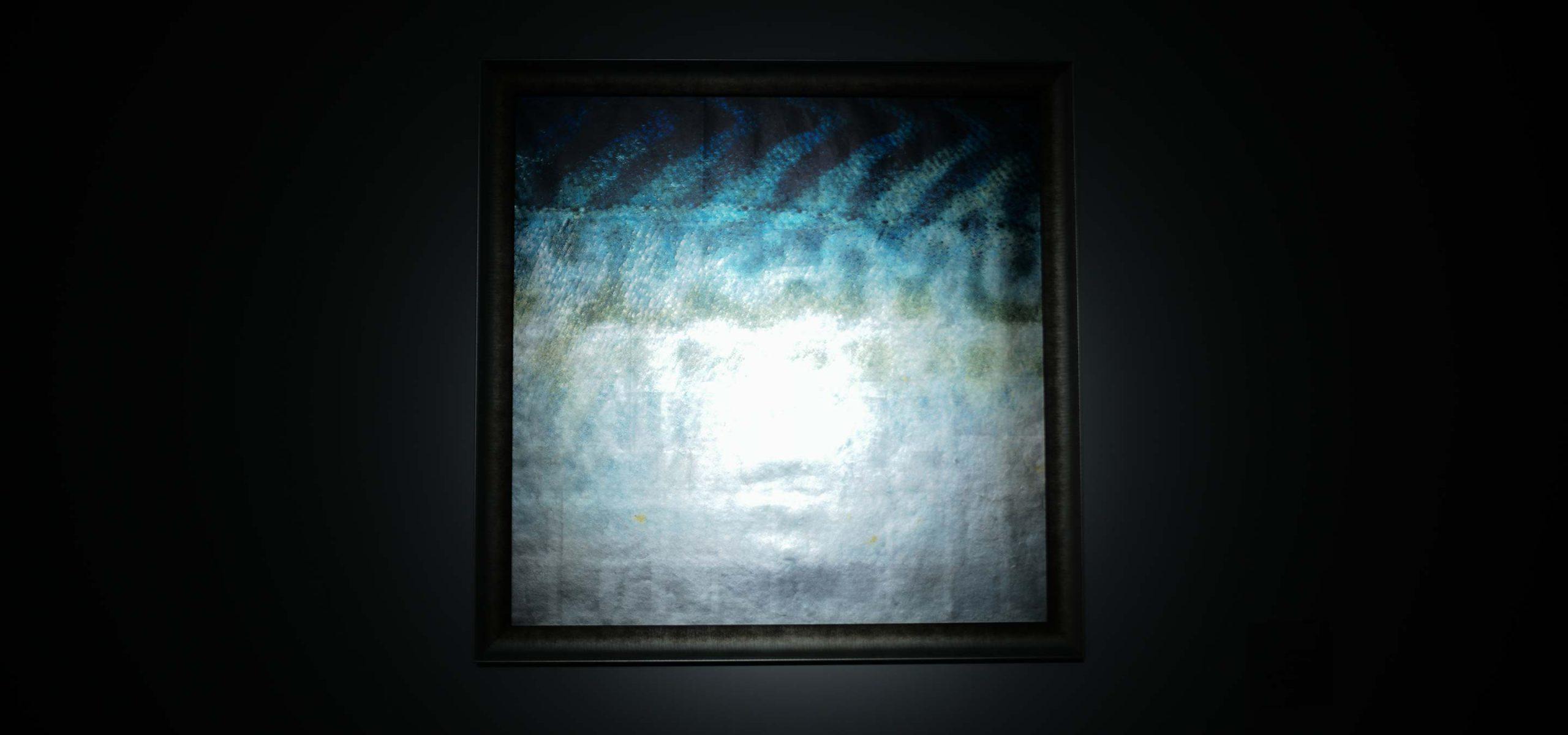 光の波、反射、海と空の点描